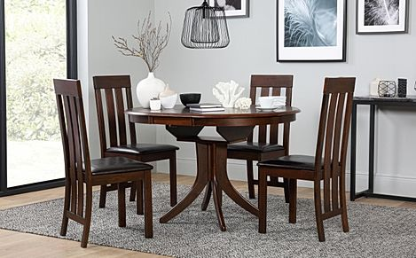 Hudson Round Dark Wood Extending Dining Table with 4 Chester Chairs (Brown Leather Seat Pads)