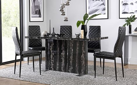 Magnus Black Marble Dining Table with 6 Renzo Black Chairs