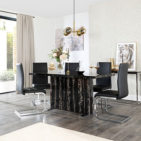 Magnus Black Marble Dining Table with 6 Perth Black Leather Chairs