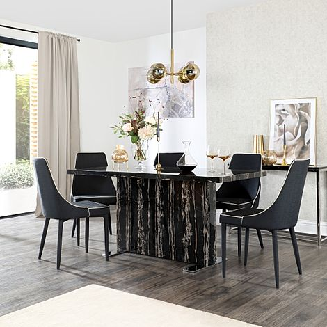 Magnus Black Marble Dining Table with 6 Modena Black Fabric Chairs