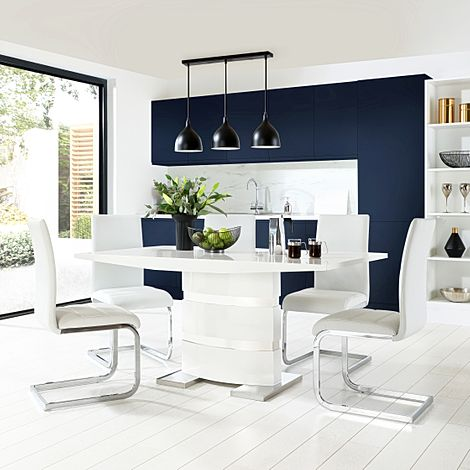 Komoro White High Gloss Dining Table with 4 Perth White Leather Chairs
