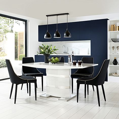 Komoro White High Gloss Dining Table with 6 Modena Black Fabric Chairs