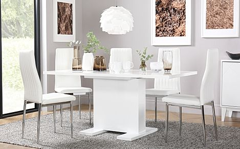 Osaka White High Gloss Extending Dining Table with 4 Leon White Leather Chairs