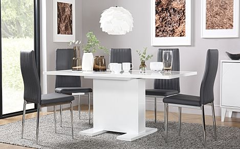 Osaka White High Gloss Extending Dining Table with 4 Leon Grey Leather Chairs