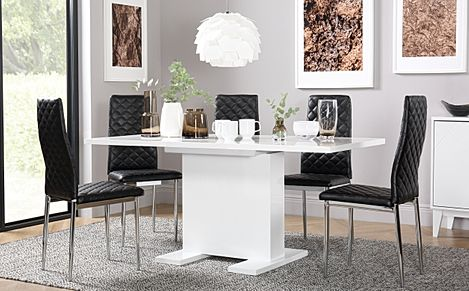 Osaka White High Gloss Extending Dining Table with 4 Renzo Black Leather Chairs