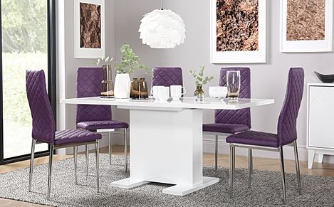 Osaka White High Gloss Extending Dining Table with 4 Renzo Purple Chairs (Chrome Legs)
