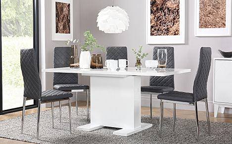 Osaka White High Gloss Extending Dining Table with 6 Renzo Grey Leather Chairs