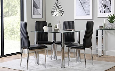 Nova Square Chrome and Glass Dining Table with 4 Leon Black Chairs