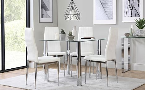 Nova Square Glass and Chrome Dining Table with 4 Leon White Leather Chairs