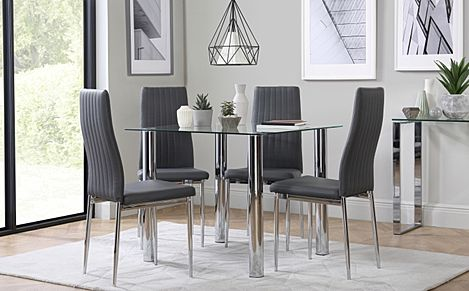 Nova Square Glass and Chrome Dining Table with 4 Leon Grey Leather Chairs
