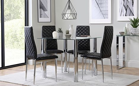 Nova Square Glass and Chrome Dining Table with 4 Renzo Black Leather Chairs