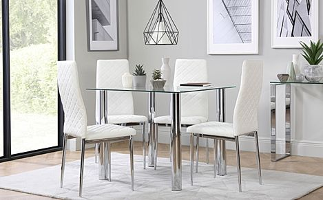 Nova Square Glass and Chrome Dining Table with 4 Renzo White Leather Chairs
