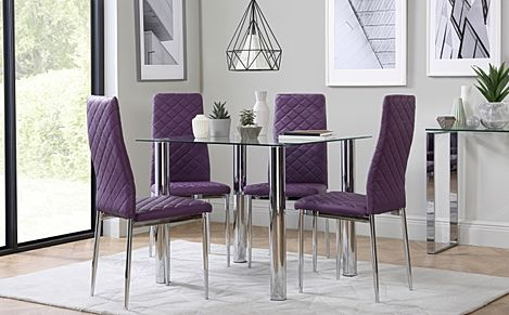 Nova Square Chrome and Glass Dining Table - with 4 Renzo Purple Chairs