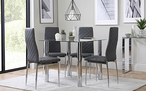 Nova Square Glass and Chrome Dining Table with 4 Renzo Grey Leather Chairs
