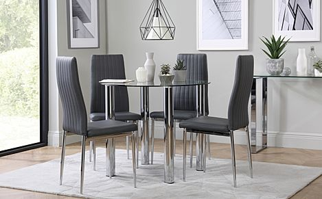 Solar Round Chrome and Glass Dining Table with 4 Leon Grey Chairs