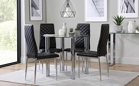 Solar Round Chrome and Glass Dining Table with 4 Renzo Black Chairs