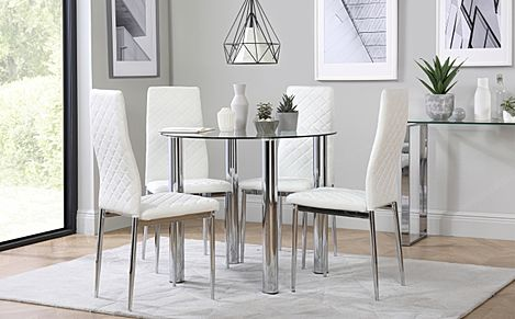 Solar Round Chrome and Glass Dining Table with 4 Renzo White Chairs