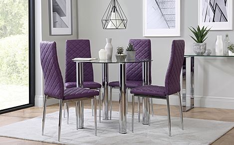Solar Round Chrome and Glass Dining Table with 4 Renzo Purple Chairs