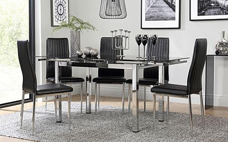 Space Chrome & Black Glass Extending Dining Table with 4 Leon Black Chairs