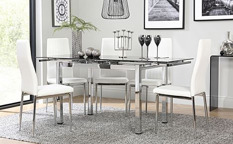 Space Chrome and Black Glass Extending Dining Table with 4 Leon White Leather Chairs