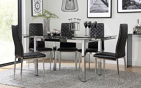 Space Chrome and Black Glass Extending Dining Table with 4 Renzo Black Leather Chairs