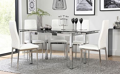 Space Chrome and Black Glass Extending Dining Table with 6 Renzo White Leather Chairs