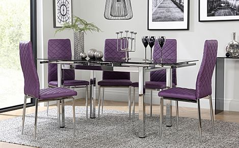 Space Chrome & Black Glass Extending Dining Table with 4 Renzo Purple Chairs