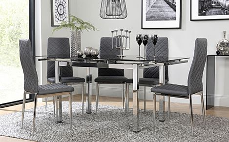 Space Chrome and Black Glass Extending Dining Table with 6 Renzo Grey Leather Chairs