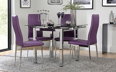 Space Square Chrome & Black Glass Extending Dining Table with 4 Leon Purple Chairs