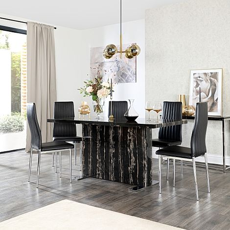 Magnus Black Marble Dining Table with 6 Leon Black Chairs (Chrome Legs)