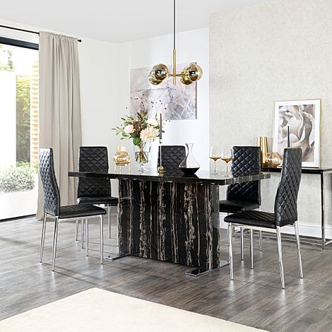 Magnus Black Marble Dining Table with 6 Renzo Black Chairs (Chrome Legs)
