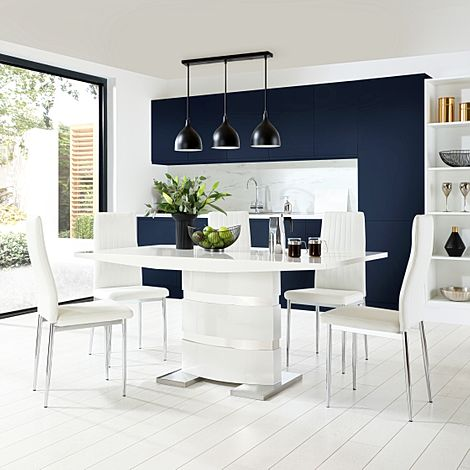 Komoro White High Gloss Dining Table with 4 Leon White Leather Chairs