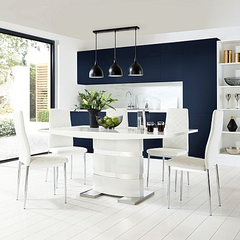 Komoro White High Gloss Dining Table with 4 Renzo White Leather Chairs