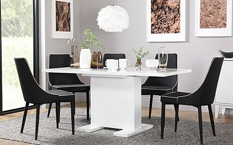 Osaka White High Gloss Extending Dining Table with 4 Modena Black Fabric Chairs