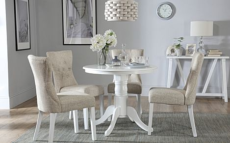 Kingston Round White Dining Table with 4 Bewley Oatmeal Chairs