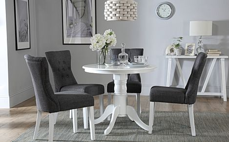 Kingston Round White Dining Table with 4 Bewley Slate Fabric Chairs