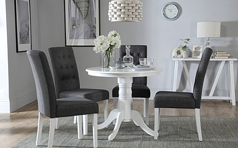 Kingston Round White Dining Table with 4 Regent Slate Fabric Chairs