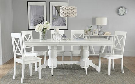 Chatsworth White Extending Dining Table with 6 Kendal Chairs