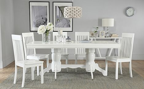 Chatsworth White Extending Dining Table with 6 Oxford Chairs