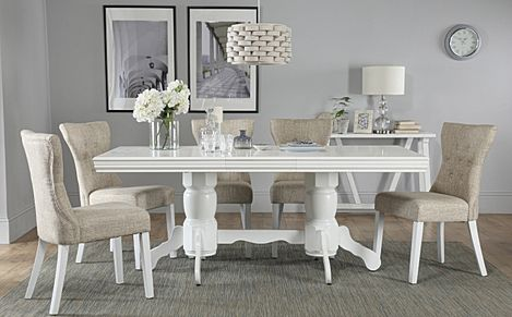 Chatsworth White Extending Dining Table with 6 Bewley Oatmeal Fabric Chairs