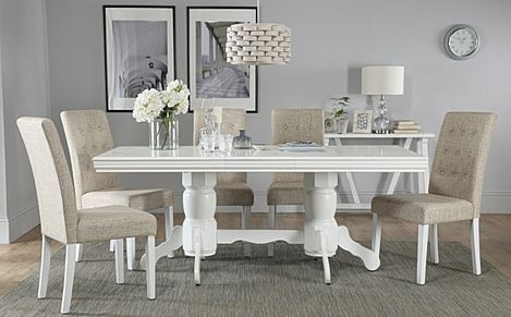 Chatsworth White Extending Dining Table with 6 Regent Oatmeal Fabric Chairs