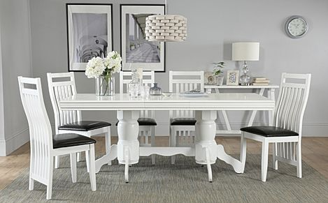 Chatsworth White Extending Dining Table with 4 Java Chairs