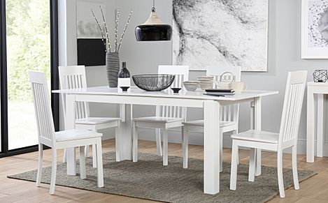 Aspen White Extending Dining Table with 4 Oxford Chairs