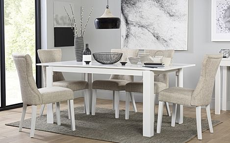Aspen White Extending Dining Table with 6 Bewley Oatmeal Fabric Chairs