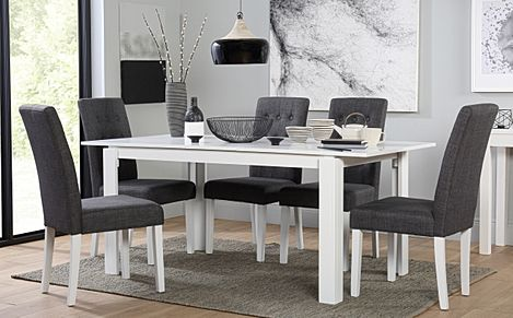 Aspen White Extending Dining Table with 6 Regent Slate Fabric Chairs