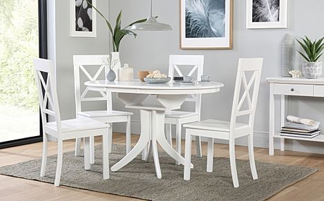 Hudson Round White Extending Dining Table with 4 Kendal Chairs
