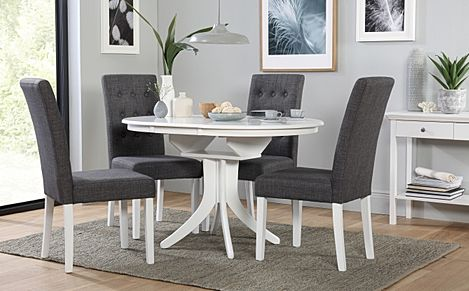 Hudson Round White Extending Dining Table with 4 Regent Slate Fabric Chairs