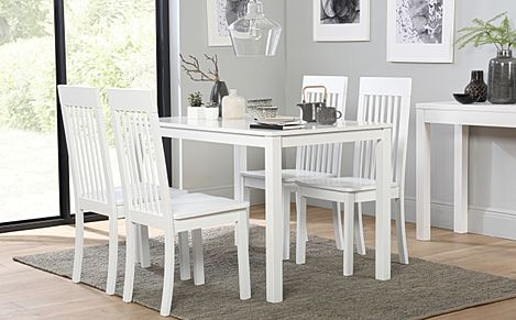 Milton White Dining Table with 6 Oxford Chairs