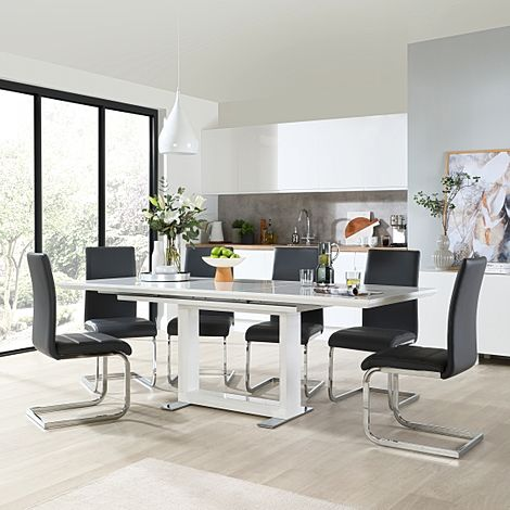 Tokyo White High Gloss Extending Dining Table with 4 Perth Grey Leather Chairs