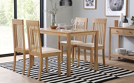 Milton Oak Dining Table with 4 Oxford Chairs (Ivory Leather Seat Pads)